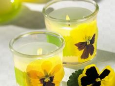 Pressed pansy votive candles