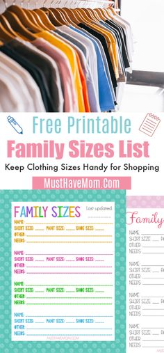 Free Printable Family Clothing Sizes List for easy shopping hacks Printable Activities For Kids, Free Printables, Luxury Kids Clothes, Organized Mom, Family Shirts, Shopping Hacks, Diy For Kids, Helpful Hints, Kids Outfits