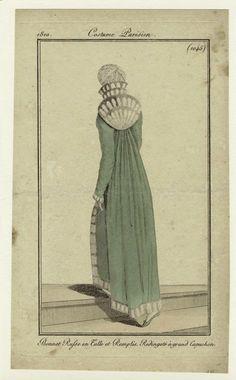 """""""Bonnet Russe en Tulle et Remplis, Redingote à grand Capuchon"""", Journal des Dames et des Modes, 1810; NYPL 801898"""