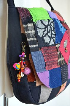 Beaded Hmong Hill Tribe Bags Keychain Long Charm Dangle with Batik Elephant  Decoration Cotton Pom Poms Hang BHK46 3d6a593de4a39