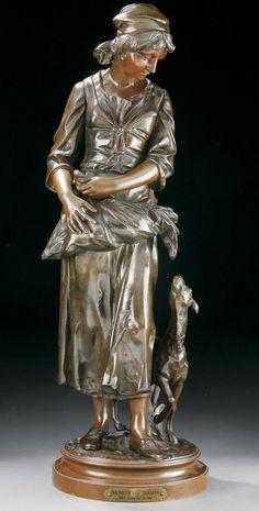 A Belgian bronze group titled 'Return de Champs,' by Destrier de Bleizer.