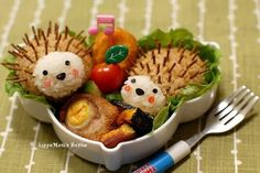 Hedgehog Bento | This is a list of fun ideas for lunch box meals. I guess it's a popular way to pack a kid's lunch in Asia. I should try making something like this sometime! :)