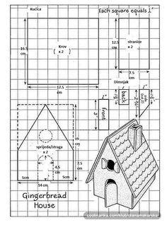 Ja sam radila kućicu po ovoj šemi al tu su mjere u inchima, pa evo prevela sam ih u cm za lp-l-t- mamu, a možda i još nekome posluži  Ako je nešto nejasno samo pitajte  (na ovoj slici je i skica za dimnjak, al njega nisam radila tako da mjere dimnjaka nisam mjenjala, ostale su u inchima) Moja kućica