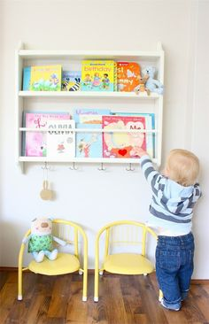 Ikea hack: plate rack turned children's book shelf