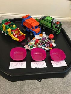 Recycling tuff tray Recycling Games, Recycling Activities For Kids, Outside Activities For Kids, Nursery Activities, Montessori Activities, Classroom Themes, Classroom Activities, Eyfs Outdoor Area, Sustainability Projects