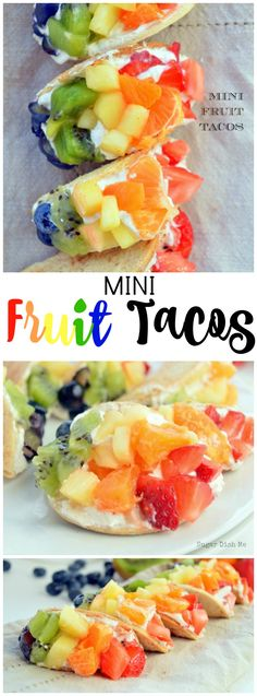 These Mini Fruit Tacos are perfect appetizers or desserts! There's a dream cheese filling and a cinnamon sugar shell! Super cute! You'll love 'em