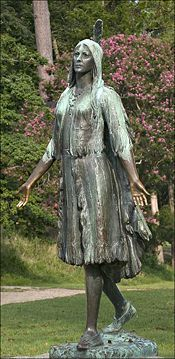 A Pocahontas statue, by William Ordway Partridge, was erected in Jamestown, Virginia in 1922. According to John Smith's 1624 Geneall Historie of Virginia, he was laid across a stone and was about to be executed, when Pocahontas threw herself across his body.