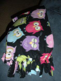 Owl fleece scarf by DooleysCreations on Etsy, $9.00