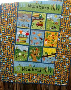 Baby quilt in Spanish and French / Numbers wall hanging/ wall art / owl, nature blanket ... ready to ship... Moda's Ten Little Things fabric by HeritageAndHeart on Etsy