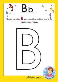 Pakket over de letter B blad 5, versier de letter B, letters aanbieden aan kleuters, free printable.