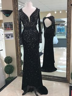Black Chiffon Shinny Beaded Open Back Long Sleeves Mermaid Prom Dresses  apd2694 Lace Prom Gown 87a17b2508f6