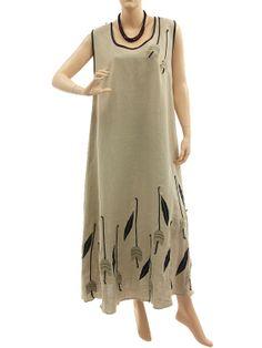 Lagenlook linen artsy boho maxi dress with tulips in nature black - Artikeldetailansicht - CLASSYDRESS Lagenlook Art to Wear Women's Clothing