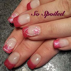 Hot pink tips nude gel flower nails spring nails nueva bio sculpture gel nail art design spring 2014 glitter pink french with stars and prinsesfo Choice Image