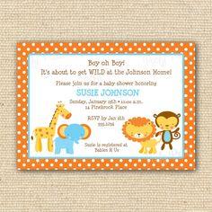Jungle Animals Baby Shower or Birthday Invitation