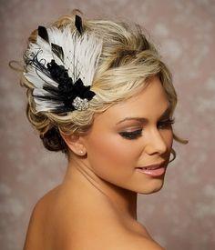 Black and Ivory Wedding Fascinator