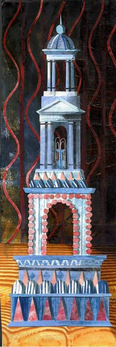 """""""Gateaux Anciens: Grande Fontaine Moderne"""" by Ed Kluz. Original paper collage, Based on the century original design by Antonin Careme, an early practitioner of cooking known as 'grande cuisine'. Georgian, Regency, 19th Century, Buildings, The Past, Collage, Artists, Cabinet, Christmas Ornaments"""
