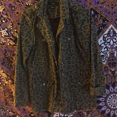 Olive washed cheetah jacket Worn no more than 3 times!  great condition! Forever 21 Jackets & Coats