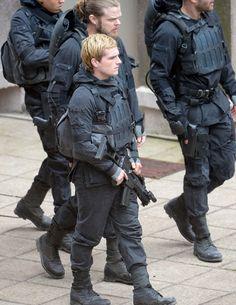 The cast filming Mockingjay
