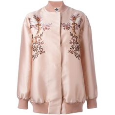 Stella McCartney floral embroidery bomber jacket found on Polyvore featuring outerwear, jackets, pink jacket, floral embroidered jacket, bomber style jacket, flight jacket and floral bomber jacket