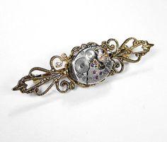 Steampunk Jewelry Pin Brooch Mens Women's by SteampunkBoutique, $50.00