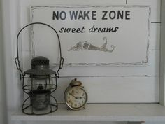 No Wake Zone. Sweet Dreams. White and Dark Grey. Mermaid Painted Sign. Nautical Decor by searchnrescue2 on Etsy, $62.00