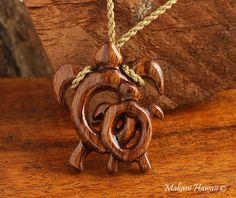 Hawaiian Koa Wood Baby Mom Honu(Turtle) Necklace - Makani Hawaii,Hawaiian Heirloom Jewelry Wholesaler and Manufacturer
