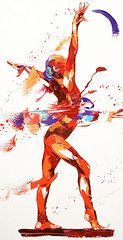 Sports Paintings - Gymnast Four  by Penny Warden