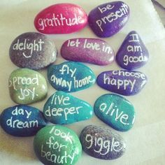 rock thoughts~ cover with glitter nail polish...write with twink or a white nail decor pen. and coat with clear nail polish.;]