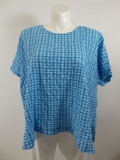 Cut Loose - Oasis Blue Plaid Pucker Short Sleeve Boxy Top
