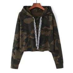 Women Camouflage Printed Cropped Hoodies Sweatshirts Long Sleeve Tracksuit Autumn Armygreen Hooded Pullovers Size One Size Color gray 1 Teenage Outfits, Teen Fashion Outfits, Outfits For Teens, Trendy Outfits, Crop Top Hoodie, Cropped Hoodie, Hoodie Outfit, Camo Hoodie, Camouflage Hoodies