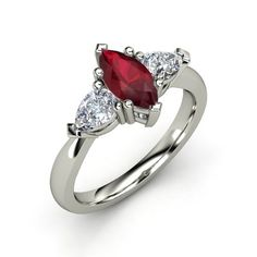 Marquise Ruby 14K White Gold Ring with Diamond | Camille Ring | Gemvara