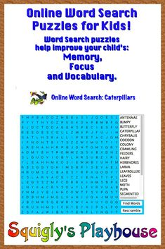 Free Online Word Search puzzle that can be played over and over again! The focus of this puzzle is caterpillars.