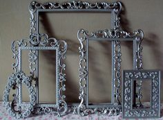 Ornate Picture Frames 5 Pewter Brushed Nickel Gray Silver Metal Frames Wedding Victorian Romantic Cottage Swirly Frames WITH Glass & Backing. $69.00, via Etsy.