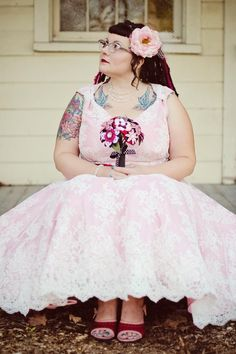 My wedding day, 10/11. eBay Fluevogs, homemade dress and flowers, brand new wedding tattoos.