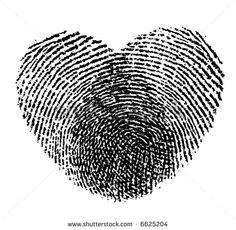 retro vector two fingerprints become a lovely heart