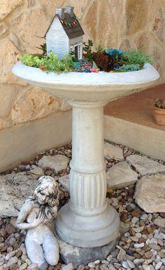 Birdbath as a fairy garden