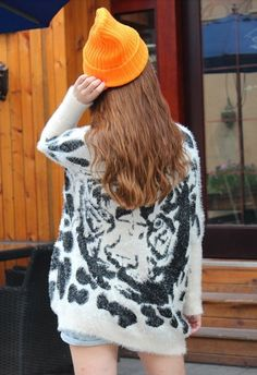Tiger Print Fluffy jumpers, black and white tiger Print Fluffy pullover sweater, women loose batwing sleeve mink hair sweater #Tiger #Print #Fluffy #jumpers www.loveitsomuch.com