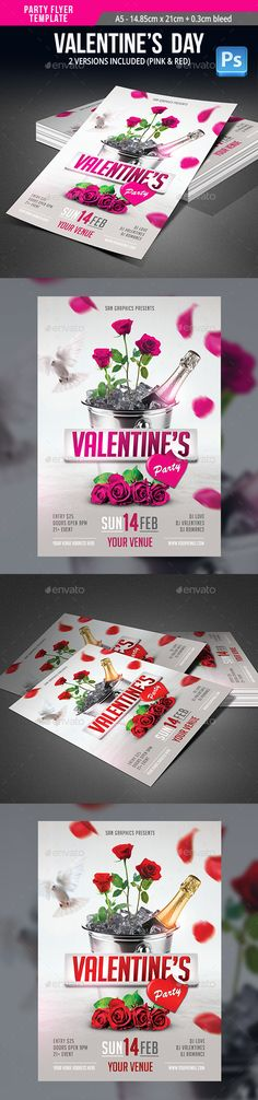 Valentine's Day Party Flyer Template PSD #design Download: http://graphicriver.net/item/valentines-day-party-flyer-template/14319753?ref=ksioks