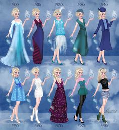 Elsa in 20th century fashion