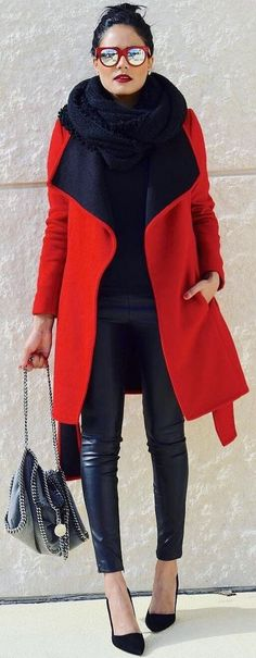 red coat, mirrored sunnies, black scarf