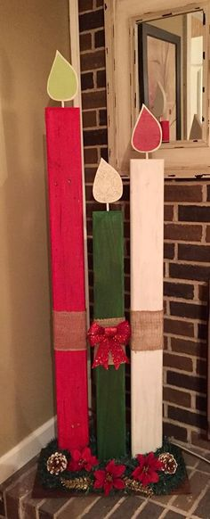 Me and My Crafties: Candles from - Handmade ideas Christmas Wood Crafts, Pallet Christmas, Christmas Yard, Outdoor Christmas Decorations, Christmas Signs, Homemade Christmas, Christmas Projects, All Things Christmas, Holiday Crafts