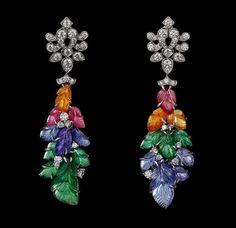 Earrings Platinum, mandarin garnets, pink tourmalines, tanzanites, tsavorite garnets, yellow diamonds, brilliants.