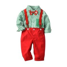 Baby Boys Clothes Set Long Sleeve Plaid Gentleman Suit For Boys Children Clothing Cotton Costume For Kids Suits Kids Christmas Outfits, Baby Boy Christmas, Christmas Clothing, Aussie Christmas, Striped Long Sleeve Shirt, Long Sleeve Shirts, Costume Noir, Bowtie And Suspenders, Pantalon Costume