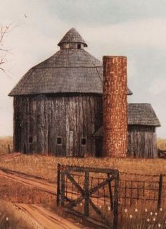 Round Barn & Silo #roundbarn #silos Farm Barn, Old Farm, Country Barns, Country Life, Country Roads, Barn Pictures, Building Painting, Red Barns, Covered Bridges