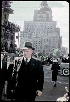 Behind the man in the hat is the old Vancouver Hotel, where now the TD Canada Trust Tower stands. Vancouver Hotels, Vancouver Island, History Facts, The Good Old Days, Vintage Beauty, Back In The Day, Historical Photos, British Columbia