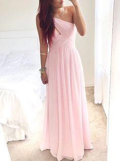 Elegant A-Linie ein Schultergurt Bodenlangen Rosa Brautjungfernkeid mit Rüschen