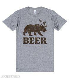 Vintage Bear-Deer-Beer | Bear with deer antlers, text 'Beer' - funny shirt. #Skreened