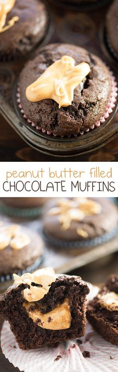 Peanut Butter Filled Chocolate Muffins - These moist chocolate muffins are filled with a creamy peanut butter center! These are the muffins of my dreams! Peanut Butter Filling, Peanut Butter Recipes, Creamy Peanut Butter, Chocolate Peanut Butter, Muffin Recipes, Baking Recipes, Dessert Recipes, Reese's Recipes, Recipies