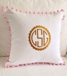 Gold Scalloped Monogram Pom Pom Pillow by peppermintbee on Etsy, $52.00