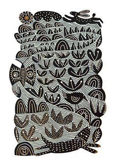 Hare & Dog - Hand Produced, Signed, Linocut by Hilke MacIntyre